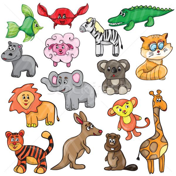 Cute animale set simpatici animali cartoon cat Foto d'archivio © Natali_Brill