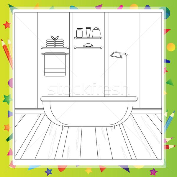Bathroom interior - Coloring book. Editable vector illustration Stock photo © Natali_Brill