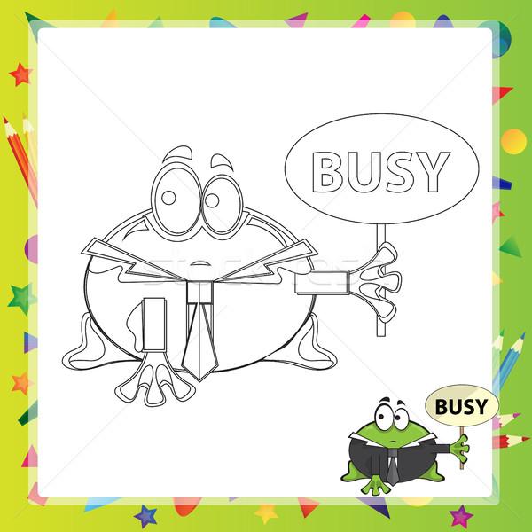 Ilustración Cartoon rana libro para colorear sonrisa libro Foto stock © Natali_Brill