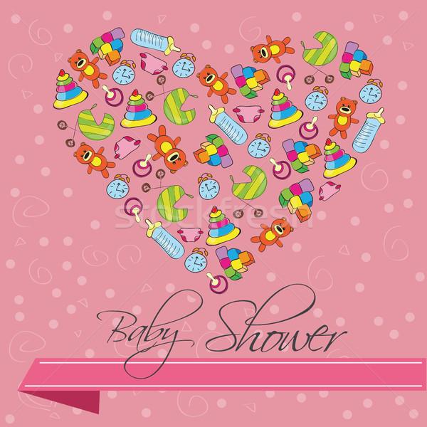 赤ちゃん シャワー ベクトル 心臓の形態 家族 ストックフォト © Natali_Brill