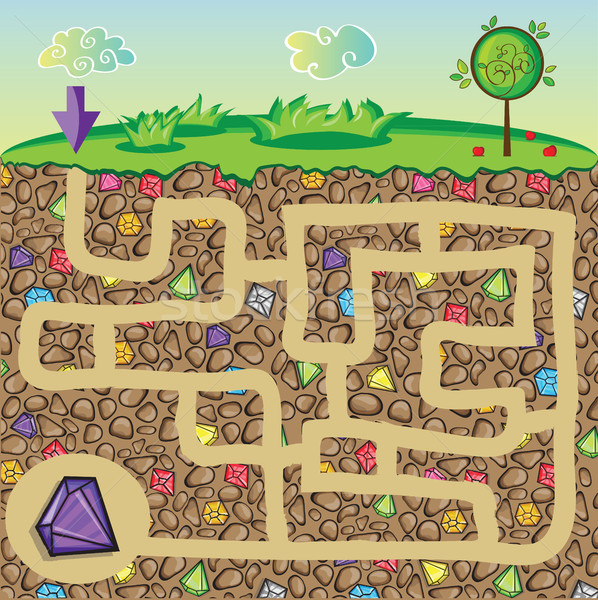 Maze for children - nature and precious stones under the ground Stock photo © Natali_Brill