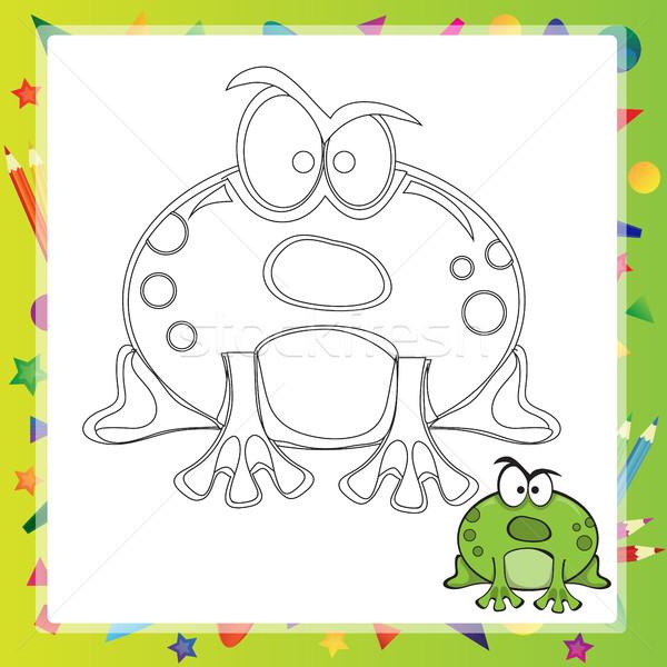 örnek Karikatür Kurbağa Boyama Kitabı Gülümseme Kitap