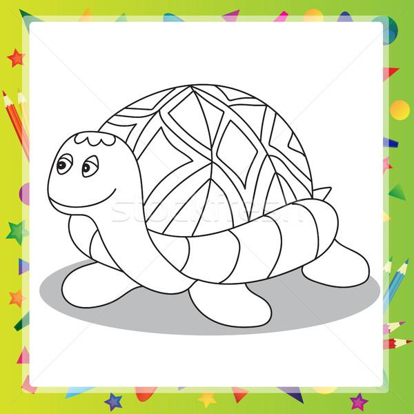örnek Karikatür Kaplumbağa Boyama Kitabı çocuklar