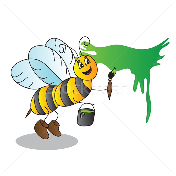Funny cartoon bee with a brush and paints  Stock photo © Natali_Brill