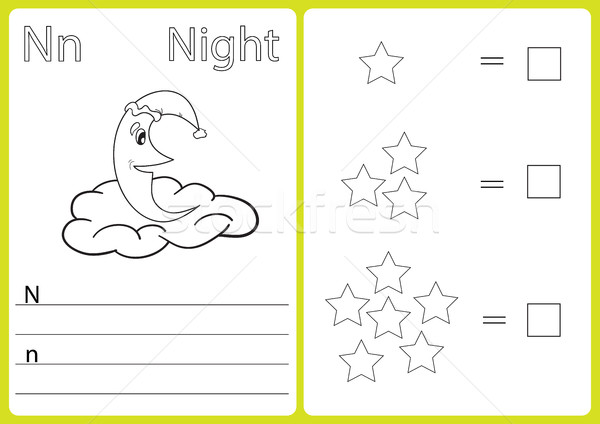 Alfabeto quebra-cabeça crianças livro para colorir ilustração vetor Foto stock © Natali_Brill