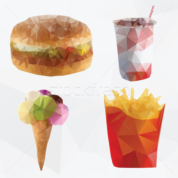 Fast food abstract geometrica poligono vettore illustrazione Foto d'archivio © Natali_Brill