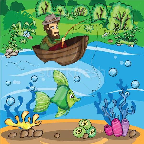 Visser vis vector cartoon illustratie water Stockfoto © Natali_Brill