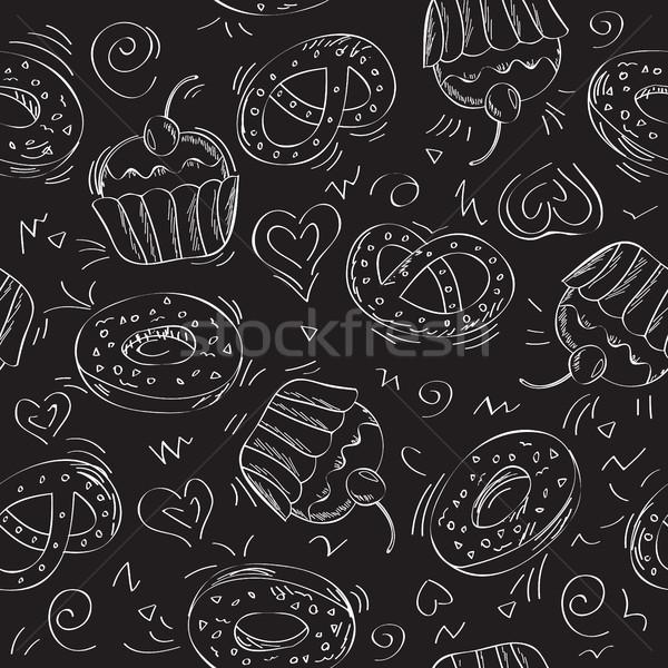 シームレス ベクトル パターン ケーキ 甘い ストックフォト © Natali_Brill