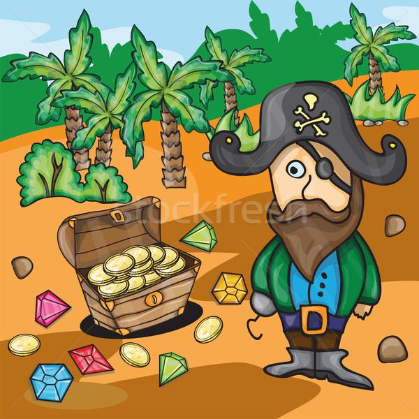 Divertimento cartoon pirata tesoro spiaggia albero Foto d'archivio © Natali_Brill