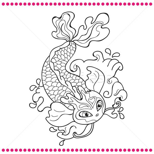 Japanese carp - line drawing vector image Stock photo © Natali_Brill