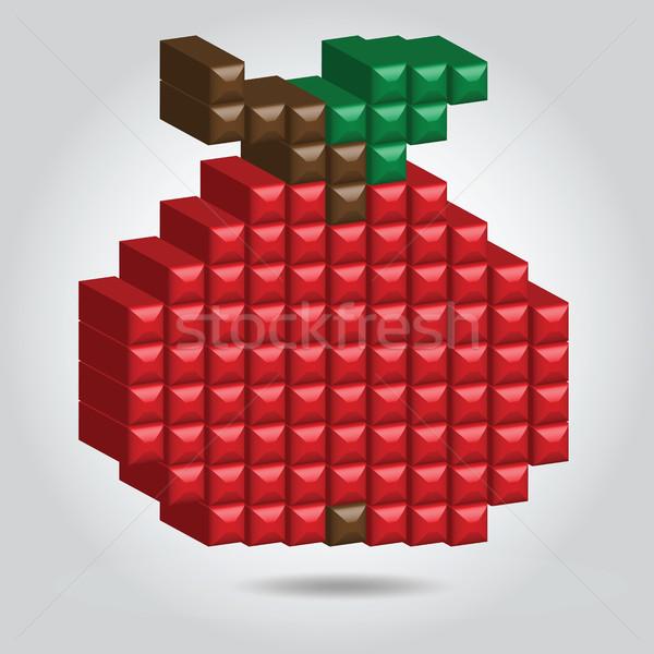 Stock photo: Apple in Pixel Style