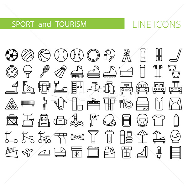 Sport and recreation flat icon set. Collection of outline symbols for web design Stock photo © Natali_Brill