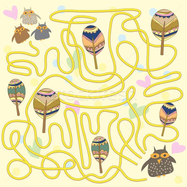 面白い フクロウ 迷路 ゲーム 子供 幼稚園 ストックフォト © Natali_Brill
