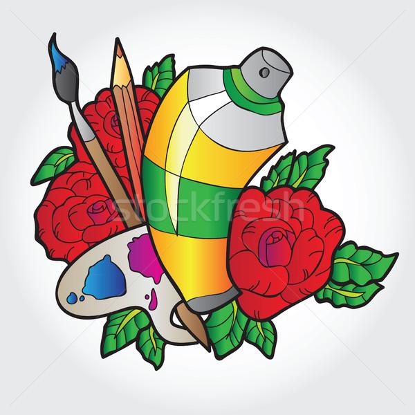 パレット 塗料 スプレー式塗料 バラ 花 子供 ストックフォト © Natali_Brill