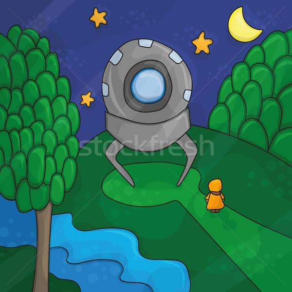 Illusztráció éjszaka tájkép UFO elemek idegen Stock fotó © Natali_Brill