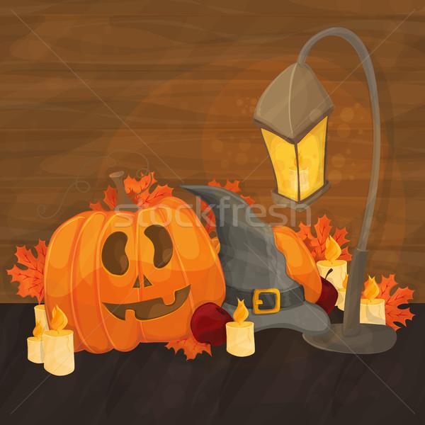 Desenho animado ilustração halloween seis lanterna abóbora Foto stock © Natali_Brill