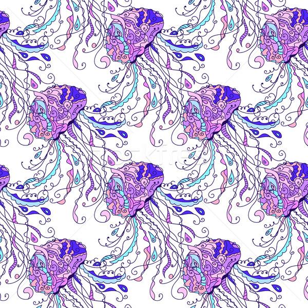 Meduza végtelen minta rajzolt firka művészet stílus Stock fotó © Natali_Brill