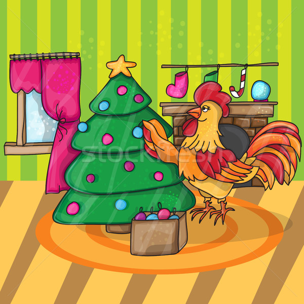 Cartoon cock with tree. Rooster. Vector illustration. Stock photo © Natali_Brill