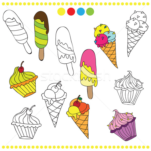 Illustration of colorful or black and white ice cream for coloring book Stock photo © Natali_Brill