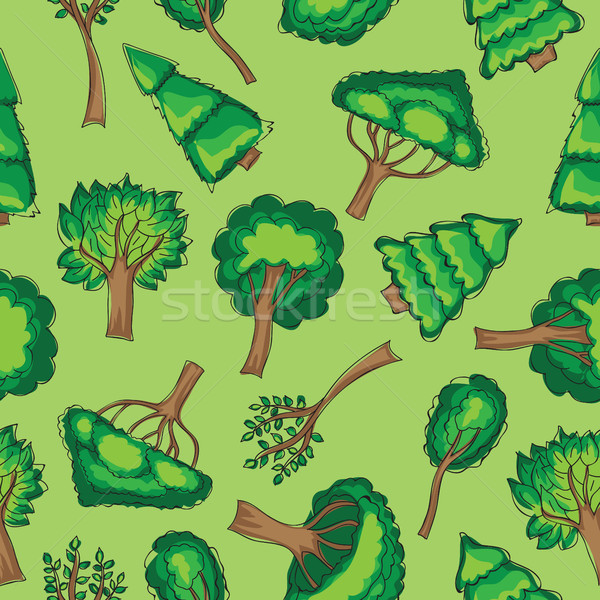 Forest trees Seamless vector patten Stock photo © Natali_Brill