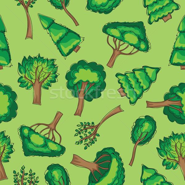 森林 木 シームレス ベクトル 手描き 紙 ストックフォト © Natali_Brill