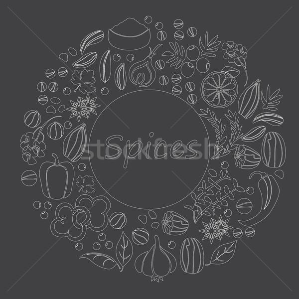 Сток-фото: вектора · рисованной · набор · травы · специи · коллекция