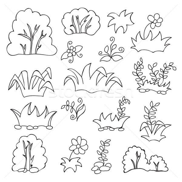 Grass and flowers cartoon coloring book for kids Stock photo © Natali_Brill