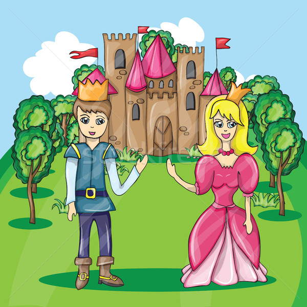 Ilustração príncipe princesa desenho animado castelo menino Foto stock © Natali_Brill