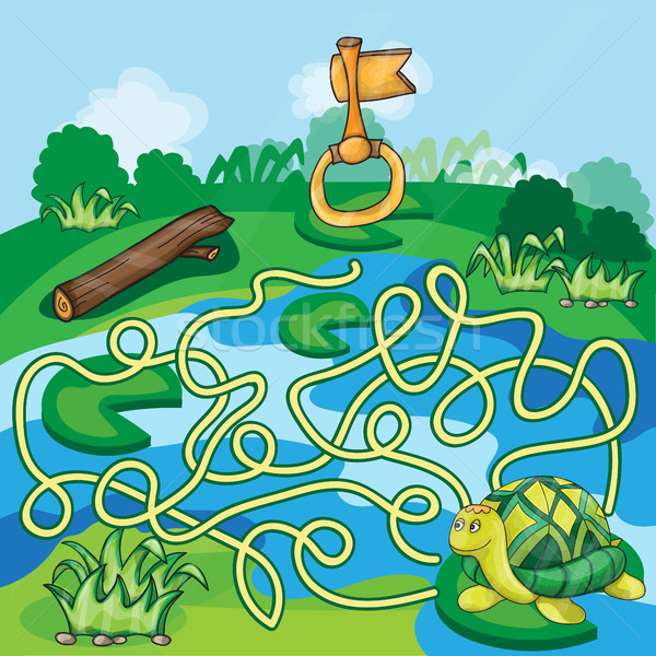 Stock photo: turtle and the gold key - labyrinth game for Children