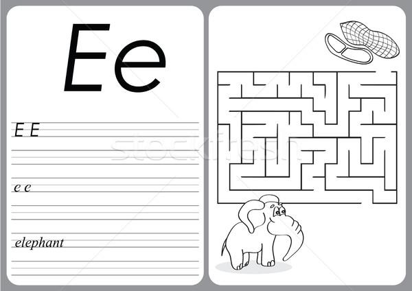Alfabet puzzel cute olifant pinda's spel Stockfoto © Natali_Brill