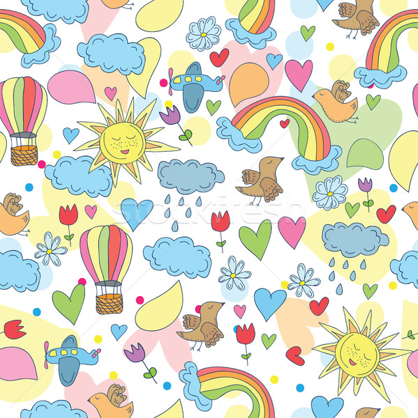Doodle ciel soleil Rainbow nuages Photo stock © Natali_Brill