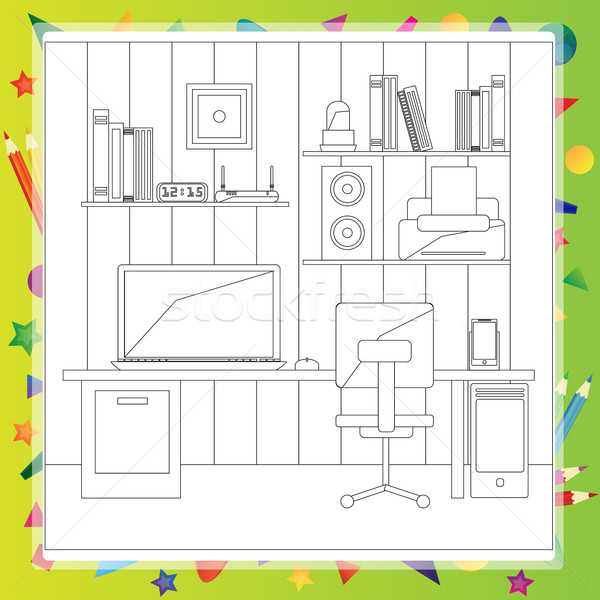 Stock photo: Vector illustration of modern workplace - Coloring book