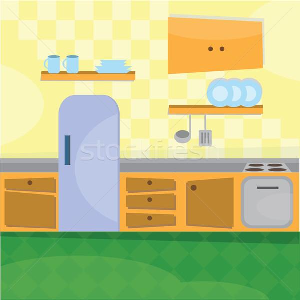 Konyha belső főzés kellékek étel terv otthon Stock fotó © Natali_Brill