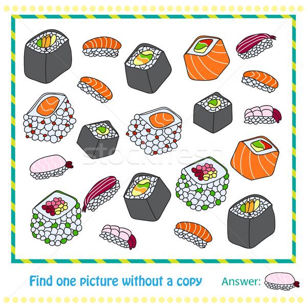 Diferente sushi jogo estilo crianças Foto stock © Natali_Brill