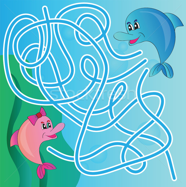 Puzzle for kids - marine life Stock photo © Natali_Brill