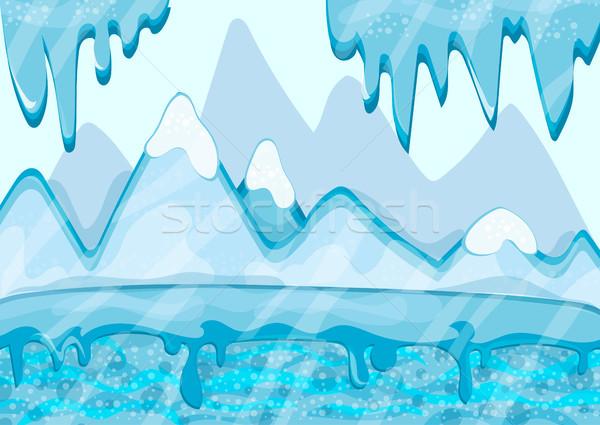 Karikatür kış manzara buzdağı buz vektör Stok fotoğraf © Natali_Brill