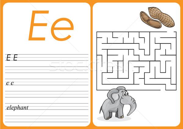 Alphabet A-Z - puzzle Worksheet - Cute Elephant and Peanuts Stock photo © Natali_Brill