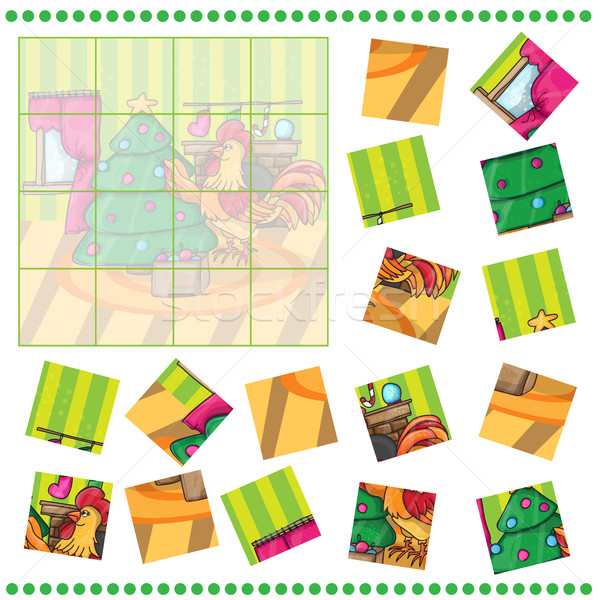 Jigsaw Puzzle game for Children Cartoon cock with tree. Rooster Stock photo © Natali_Brill