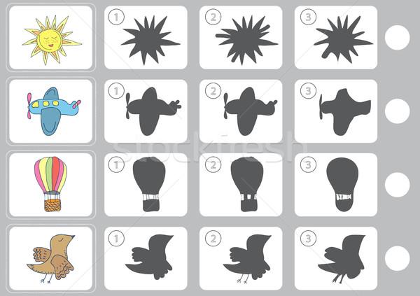 Combinar sombra educação quebra-cabeça crianças aprendizagem Foto stock © Natali_Brill