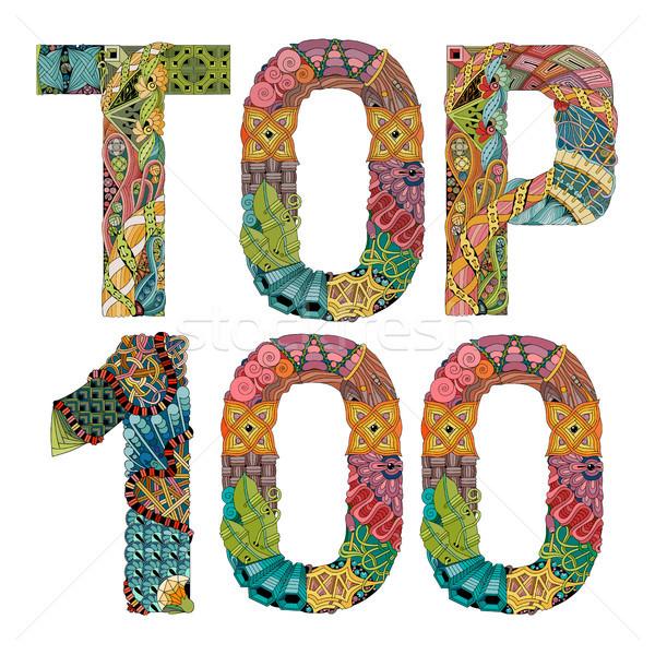 Kelime üst 100 vektör dekoratif nesne Stok fotoğraf © Natalia_1947