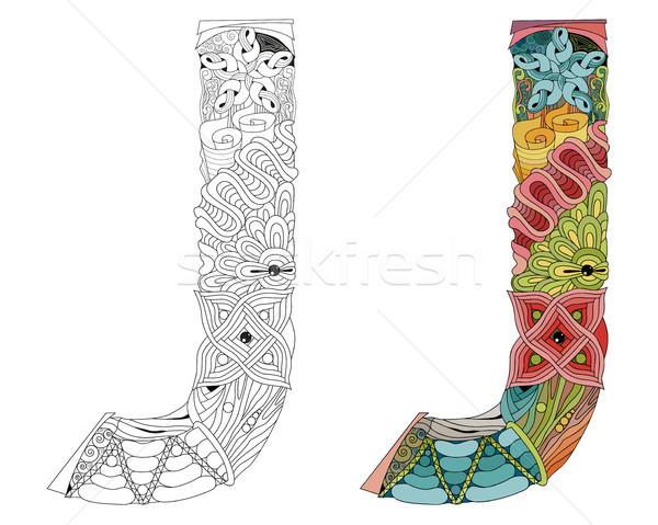 Letter J zentangle for coloring. Vector decorative object Stock photo © Natalia_1947