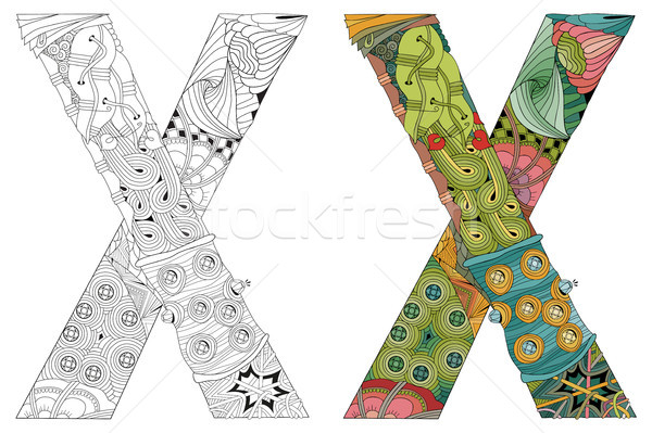 Letter X zentangle for coloring. Vector decorative object Stock photo © Natalia_1947