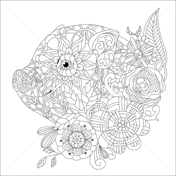 Stock photo: Piggy with flowers coloring book for adults vector