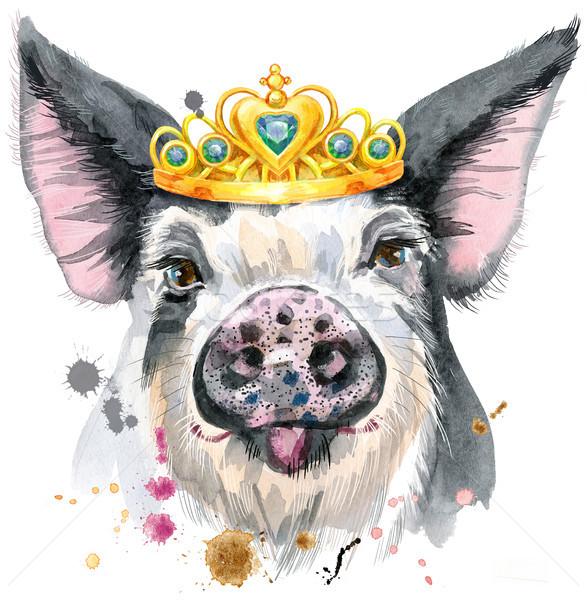 Acuarela retrato cerdo cute camiseta Foto stock © Natalia_1947