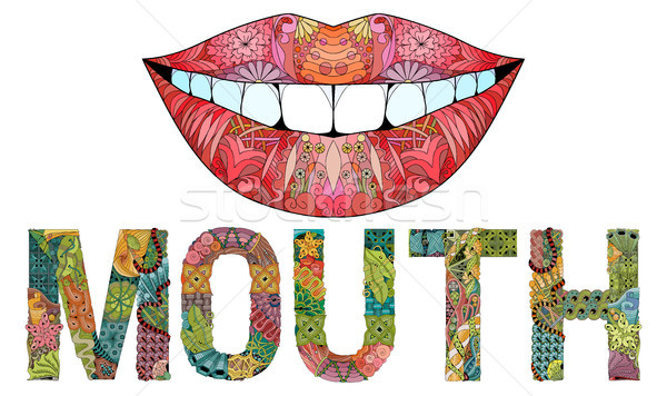 слово рот силуэта губ вектора декоративный Сток-фото © Natalia_1947