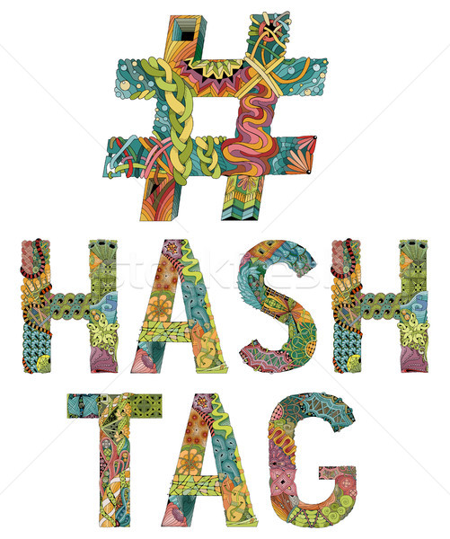 Hand drawn zentangle hashtag Stock photo © Natalia_1947