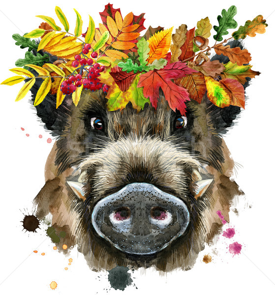 Watercolor portrait of wild boar with wreath of leaves Stock photo © Natalia_1947