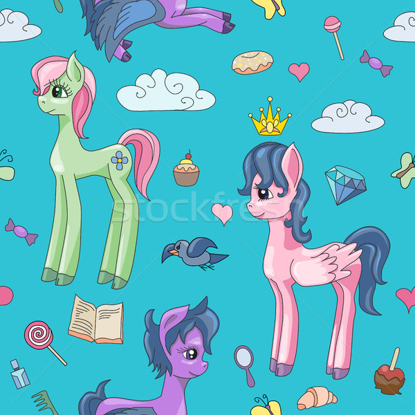 Foto d'archivio: Cute · magia · pony · vettore · cartoon