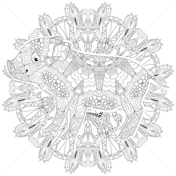 Piggy coloring book for adults vector with mandala Stock photo © Natalia_1947