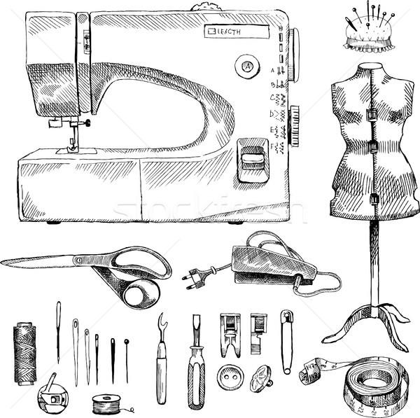Hand Drawn Sketch Sewing Set Stock photo © Natalia_1947